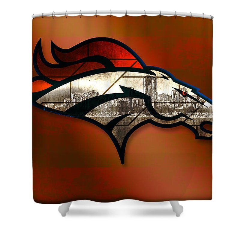 Denver Broncos Shower Curtain Featuring The Digital Art With Skyline 2 By Becca Buecher