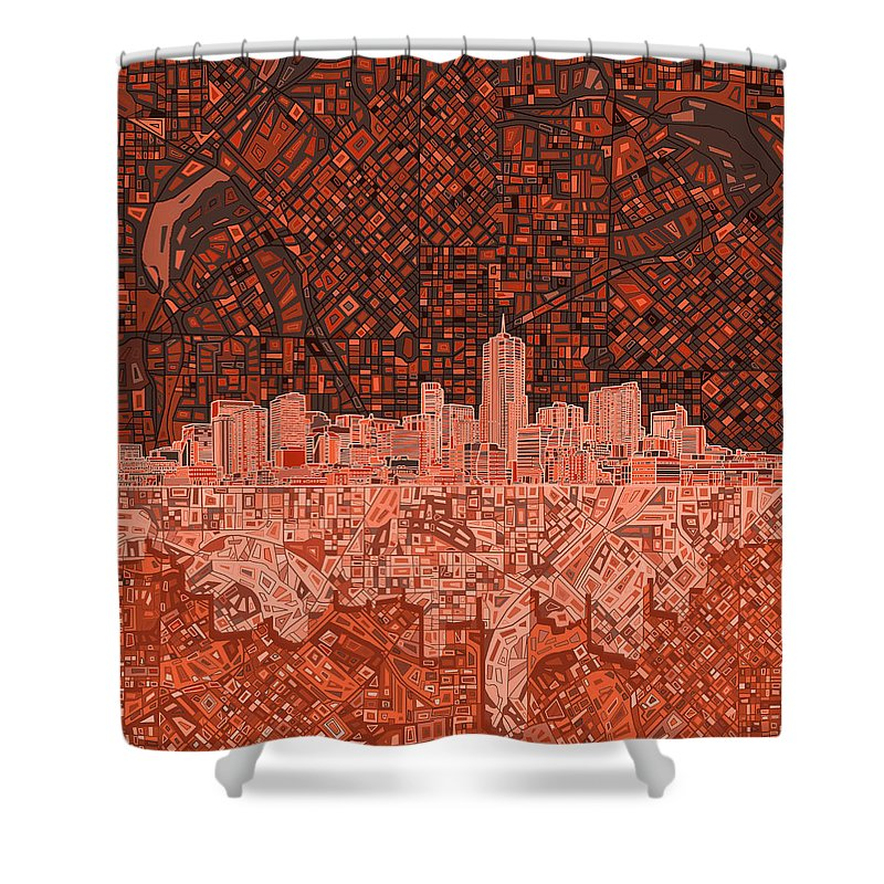 Denver Skyline Shower Curtain featuring the painting Denver Skyline Abstract 6 by Bekim M