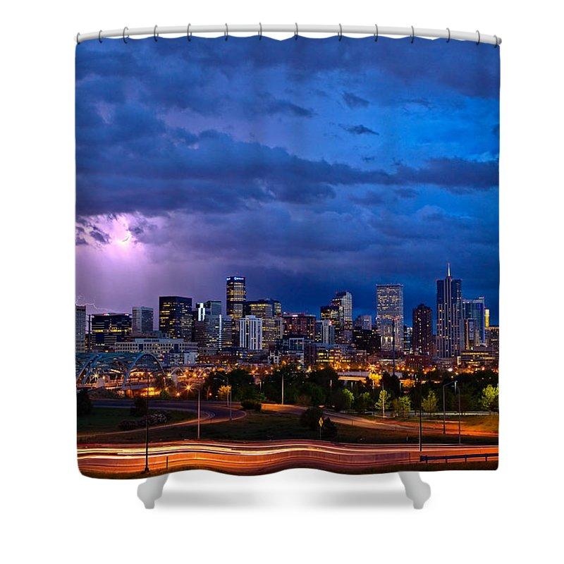 Landscape Shower Curtain featuring the photograph Denver Skyline by John K Sampson