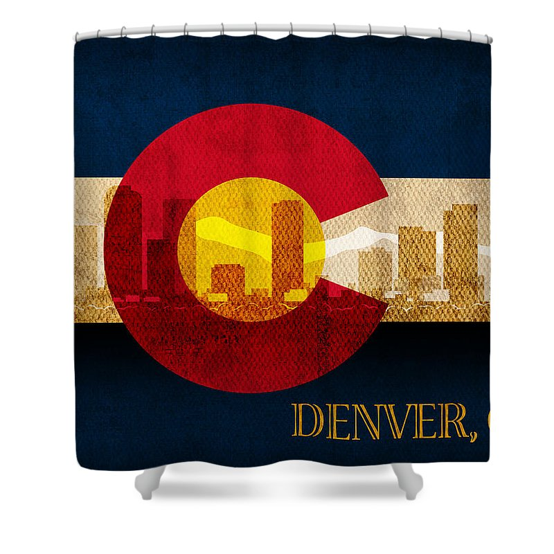 Denver Skyline Shower Curtain featuring the mixed media Denver Skyline Silhouette Of Colorado State Flag Canvas by Design Turnpike