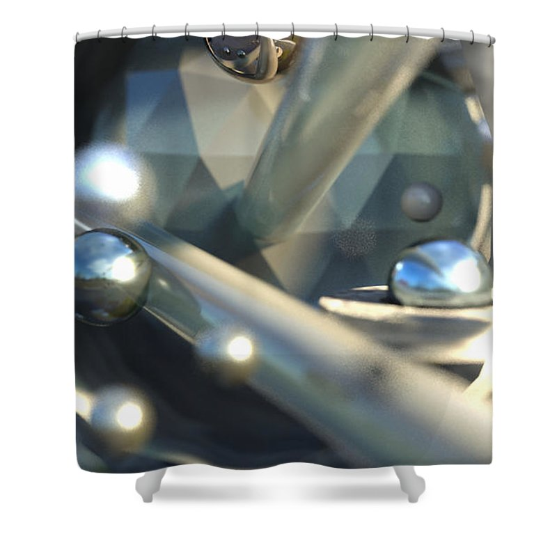 Abstract Shower Curtain featuring the digital art Depth by Marcin and Dawid Witukiewicz