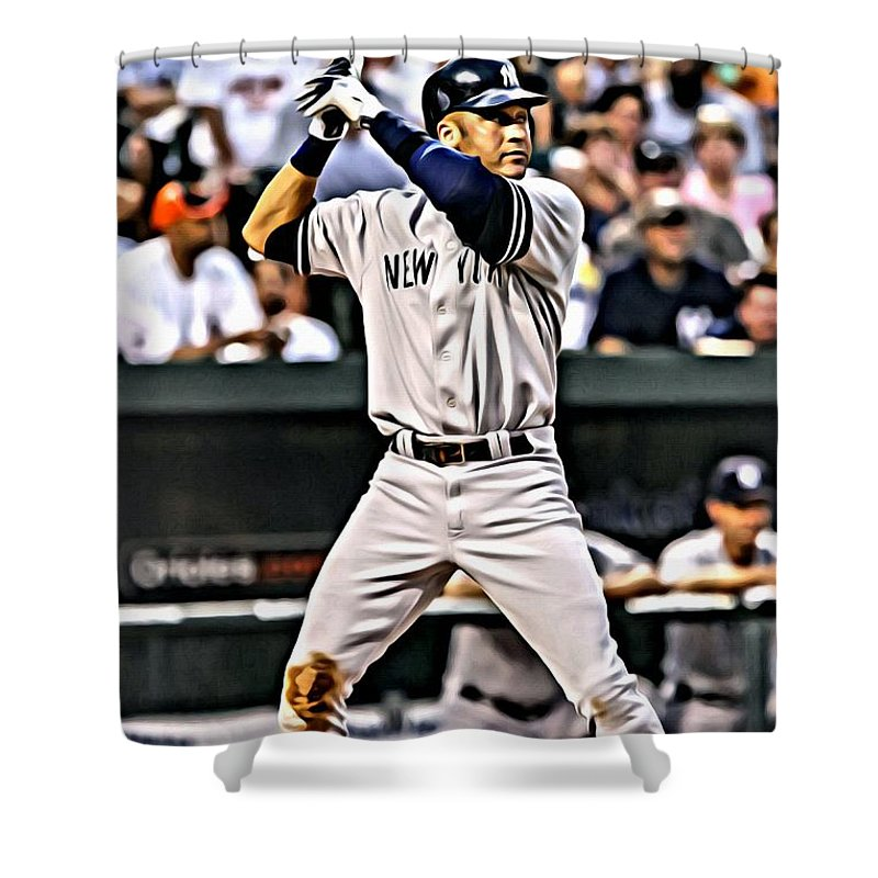 Mlb Shower Curtain Featuring The Painting Derek Jeter By Florian Rodarte