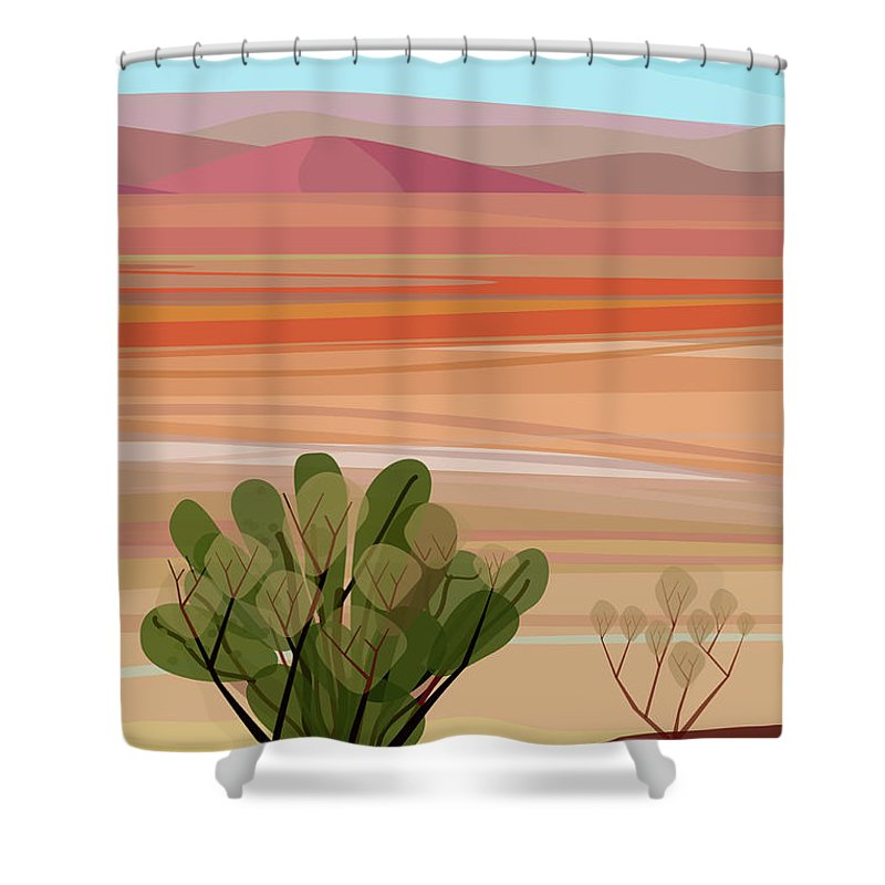 Saguaro Cactus Shower Curtain featuring the photograph Desert, Cactus Brush, Mountains In by Charles Harker