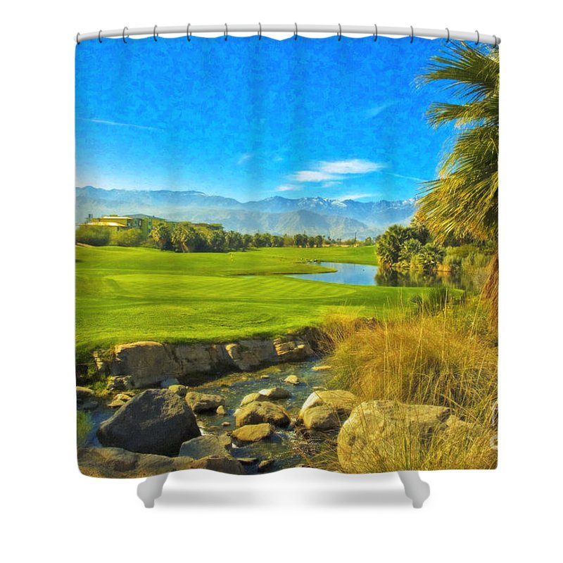 Golfing At Desert Willow Golf Course Palm Desert Ca Shower Curtain featuring the photograph Desert Golf Resort Pastel Photograph by David Zanzinger