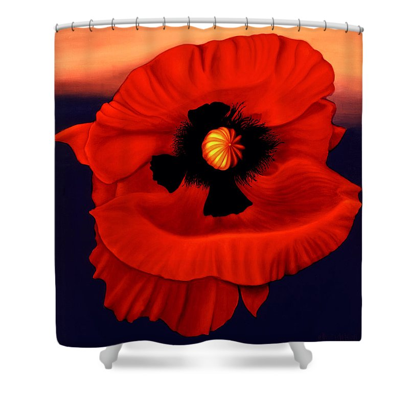 Flower Prints Shower Curtain featuring the painting Desert Poppy by Anni Adkins