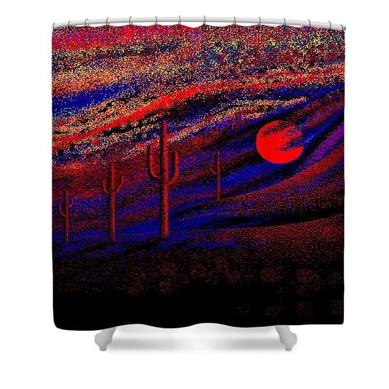 Desert Sunset Quickly Sketched In Four And Half Hours.... Shower Curtain featuring the digital art Desert Sunset by Larry Lehman
