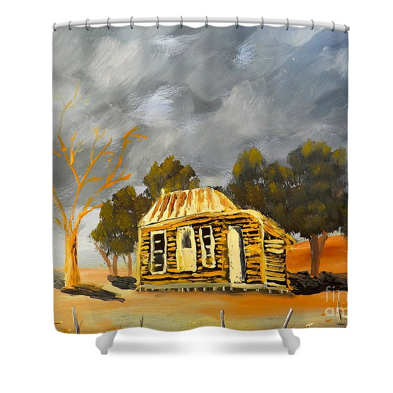 Impressionism Shower Curtain featuring the painting Deserted Castlemain Farmhouse by Pamela Meredith