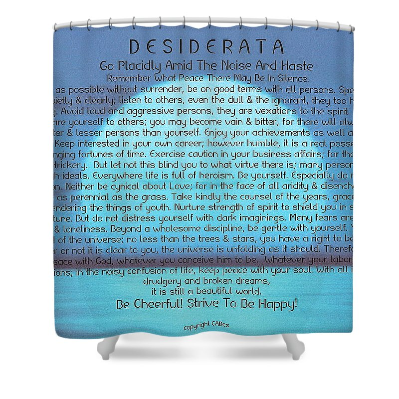 Desiderata Shower Curtain featuring the painting Desiderata On Blue Moon Sunset by Desiderata Gallery