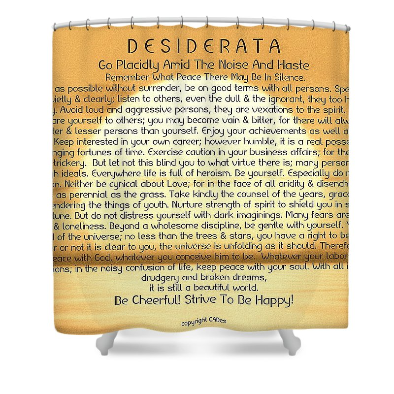 Desiderata Shower Curtain featuring the painting Desiderata Poem On Golden Sunset by Desiderata Gallery