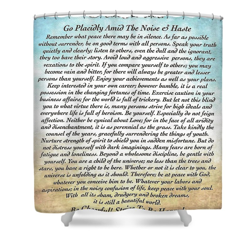 Shower Curtain featuring the painting Desiderata Poster Watercolor Art by Desiderata Gallery