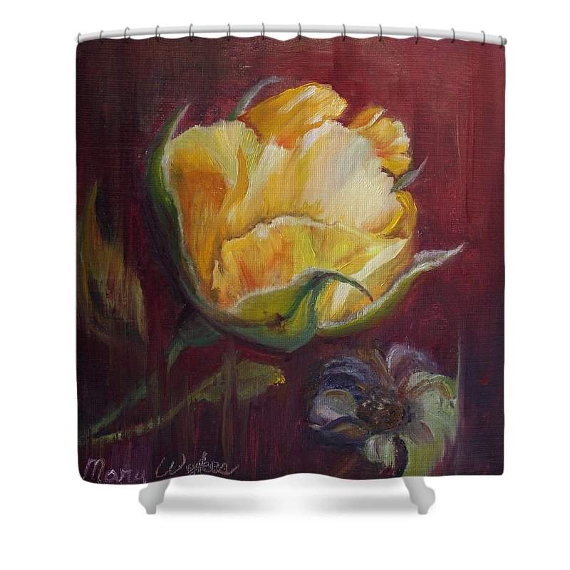 Rose Shower Curtain featuring the painting Destiny by Mary Beglau Wykes