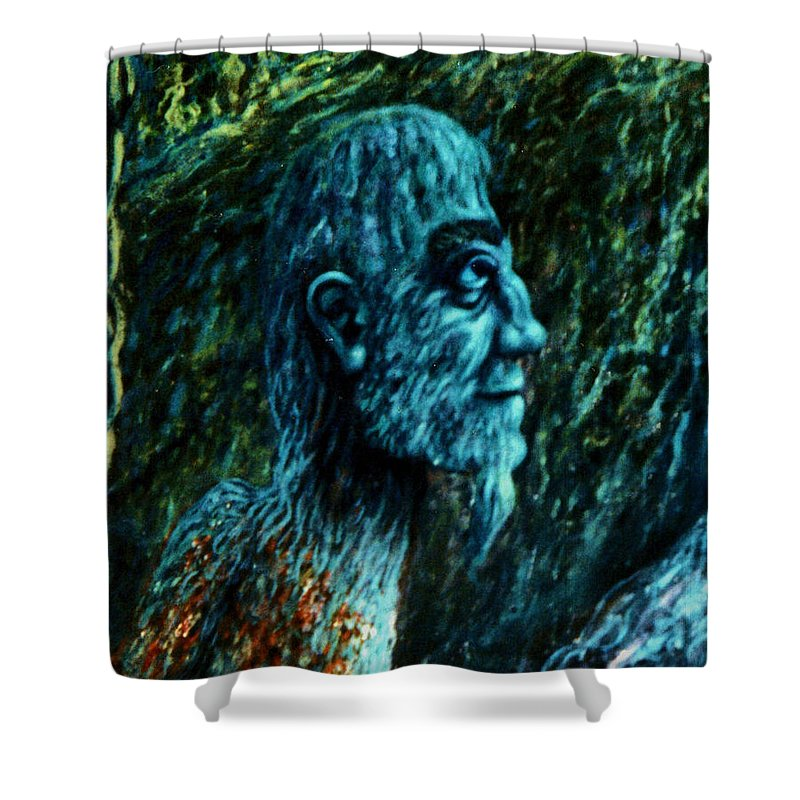 Genio Shower Curtain featuring the digital art Detail From Shaman by Genio GgXpress