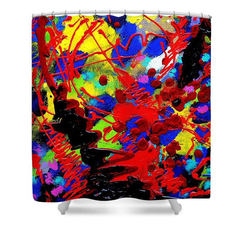 Abstract Shower Curtain featuring the painting Detail From To Make Visible The Invisible V by John Nolan