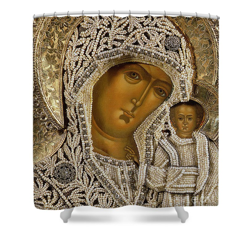 Black Madonna; Pearl; Negro Shower Curtain featuring the mixed media Detail Of An Icon Showing The Virgin Of Kazan By Yegor Petrov by Russian School