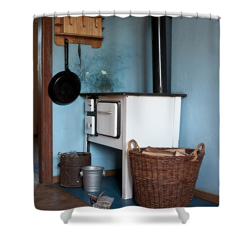 Hanging Shower Curtain featuring the photograph Detail Of An Old-fashioned Kitchen by Halfdark