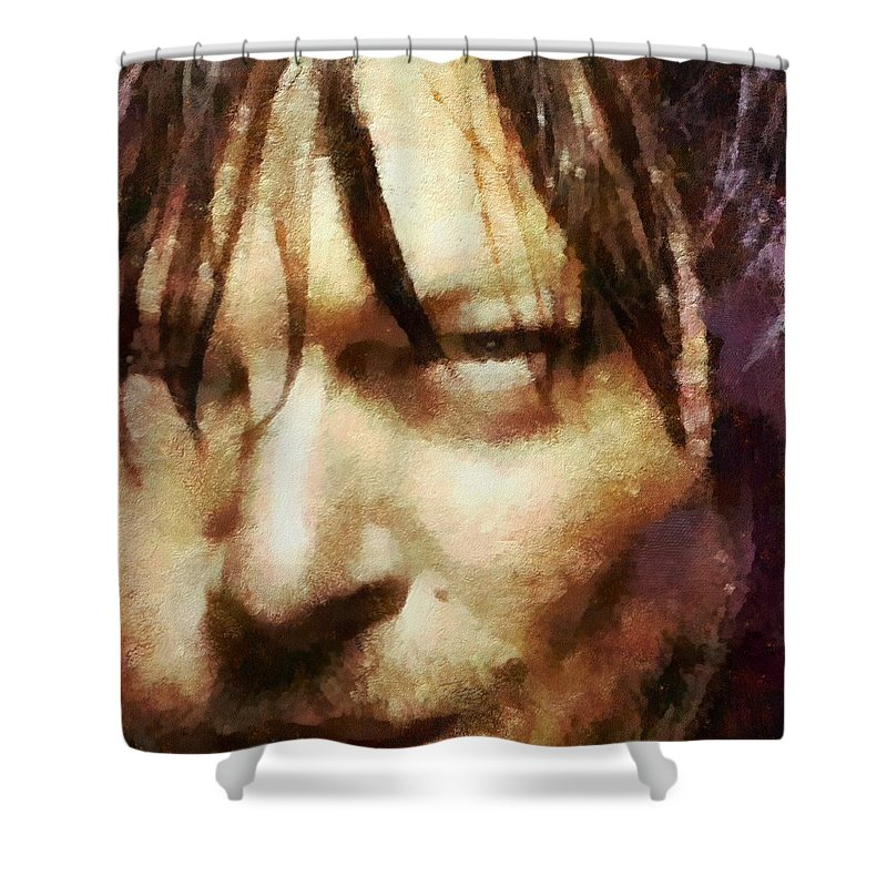Daryl Dixon Shower Curtain featuring the painting Detail Of Daryl Dixon by Janice MacLellan