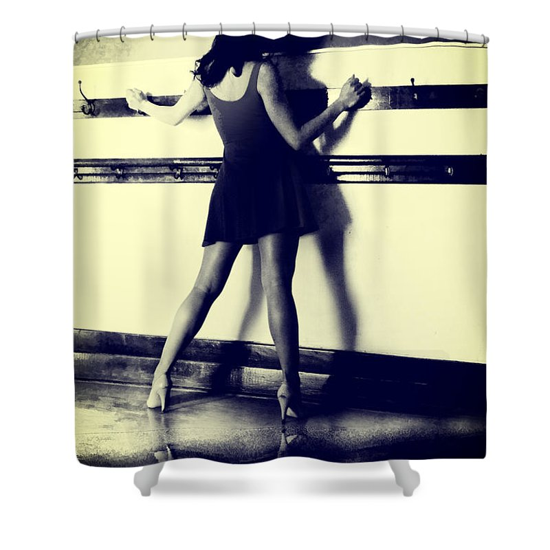 Woman Shower Curtain featuring the digital art Detension by Diane Dugas
