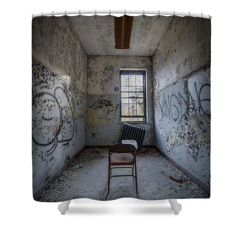 Urbex Shower Curtain featuring the photograph Detention Room by Michael Ver Sprill