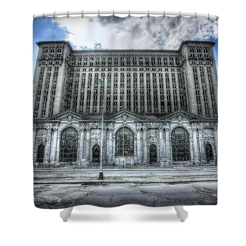 Detroit Shower Curtain featuring the photograph Detroit's Abandoned Michigan Central Train Station Depot by Gordon Dean II