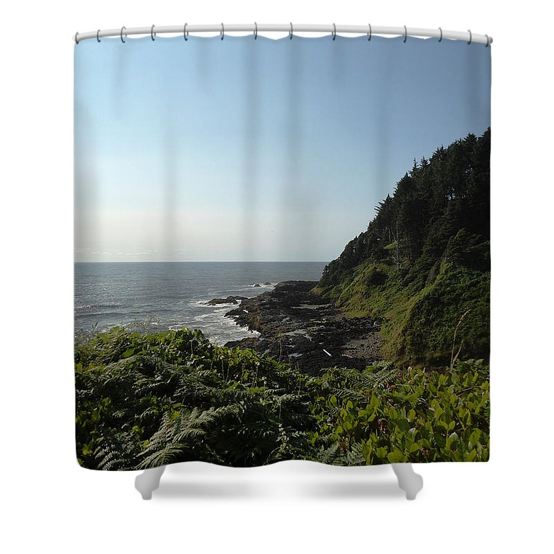 Devil's Churn Shower Curtain featuring the photograph Devil's Churn 17 by Lovina Wright