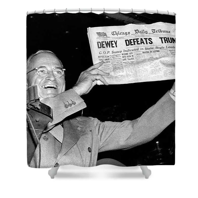1948 Shower Curtain Featuring The Photograph Dewey Defeats Truman Newspaper By Underwood Archives