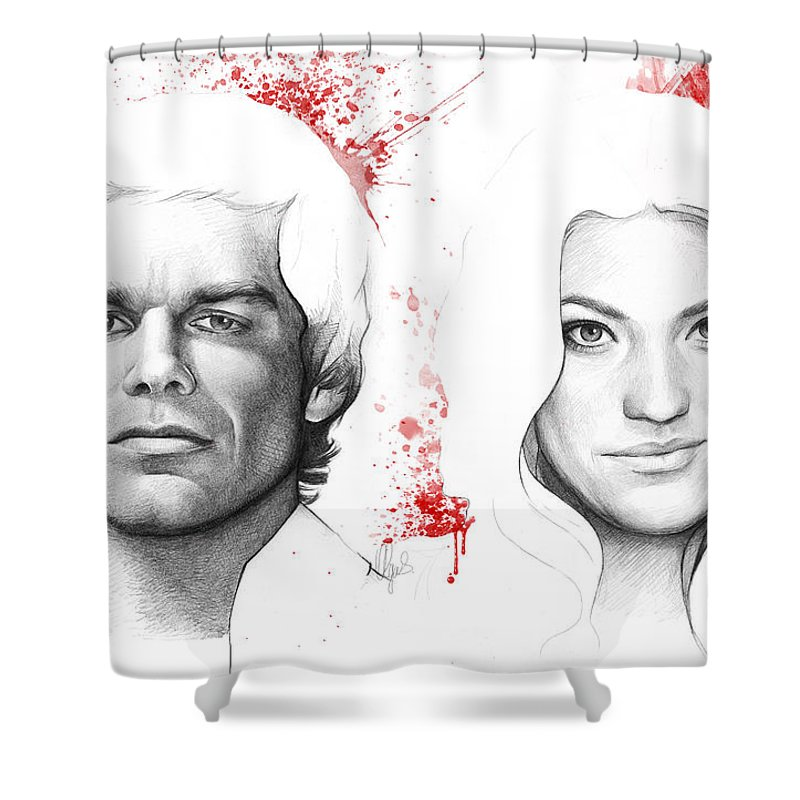 Dexter Shower Curtain Featuring The Drawing And Debra Morgan By Olga Shvartsur