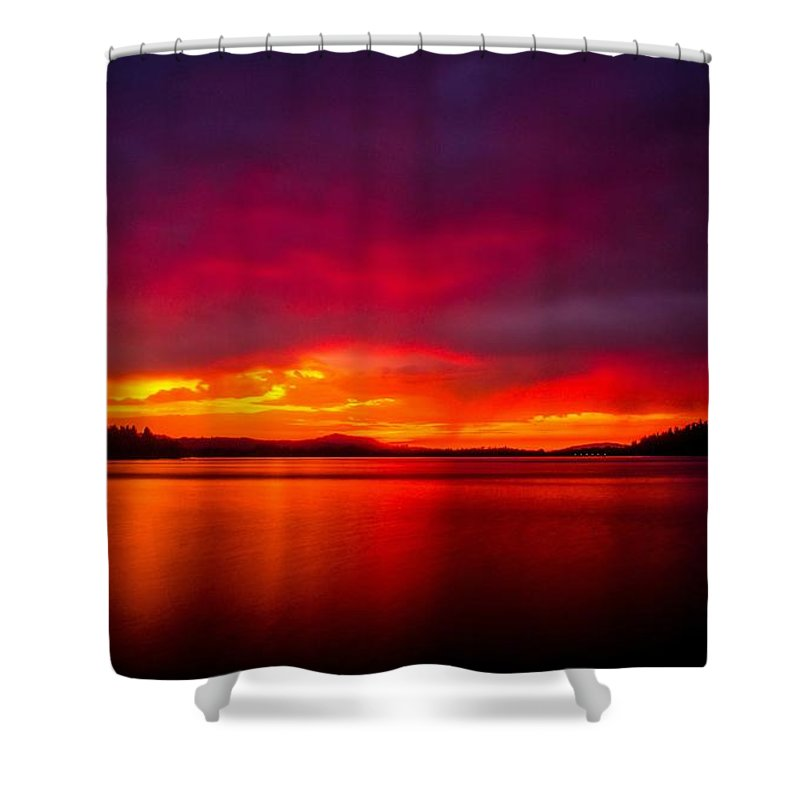 Sunset Shower Curtain Featuring The Photograph Dexter Lake Oregon By Michael Cross
