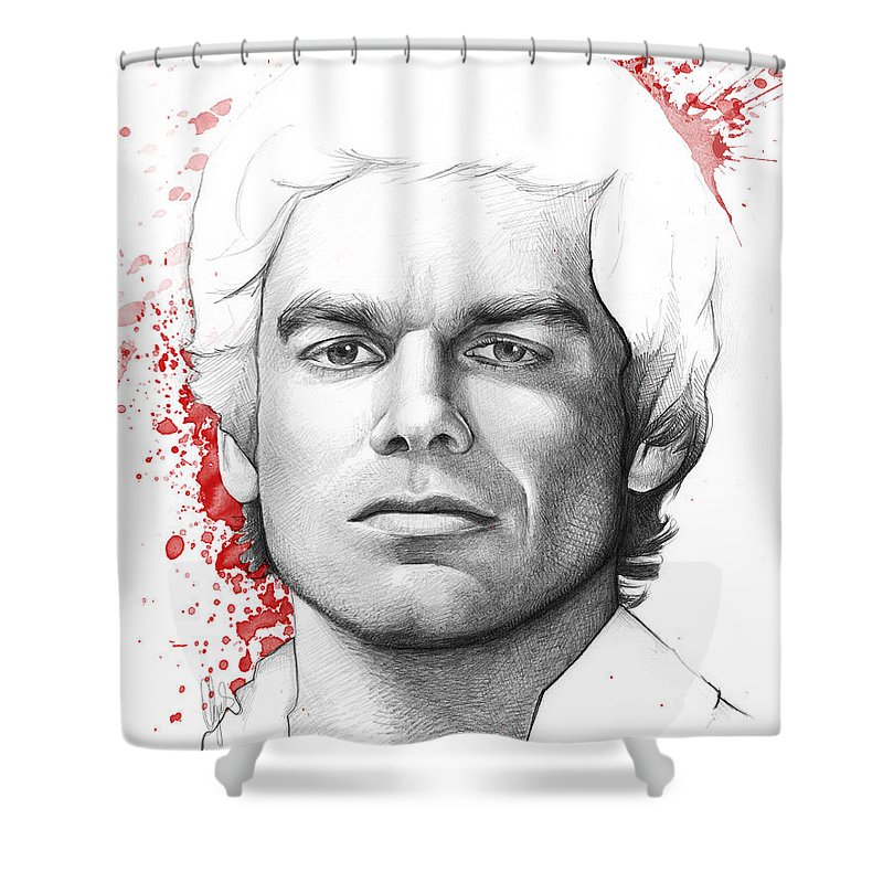 Dexter Shower Curtain Featuring The Drawing Morgan By Olga Shvartsur