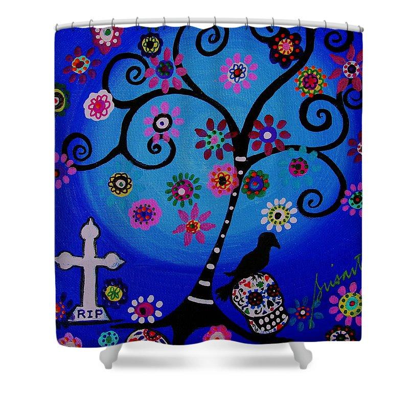 Rip Shower Curtain featuring the painting Dia De Los Muertos Rip by Pristine Cartera Turkus