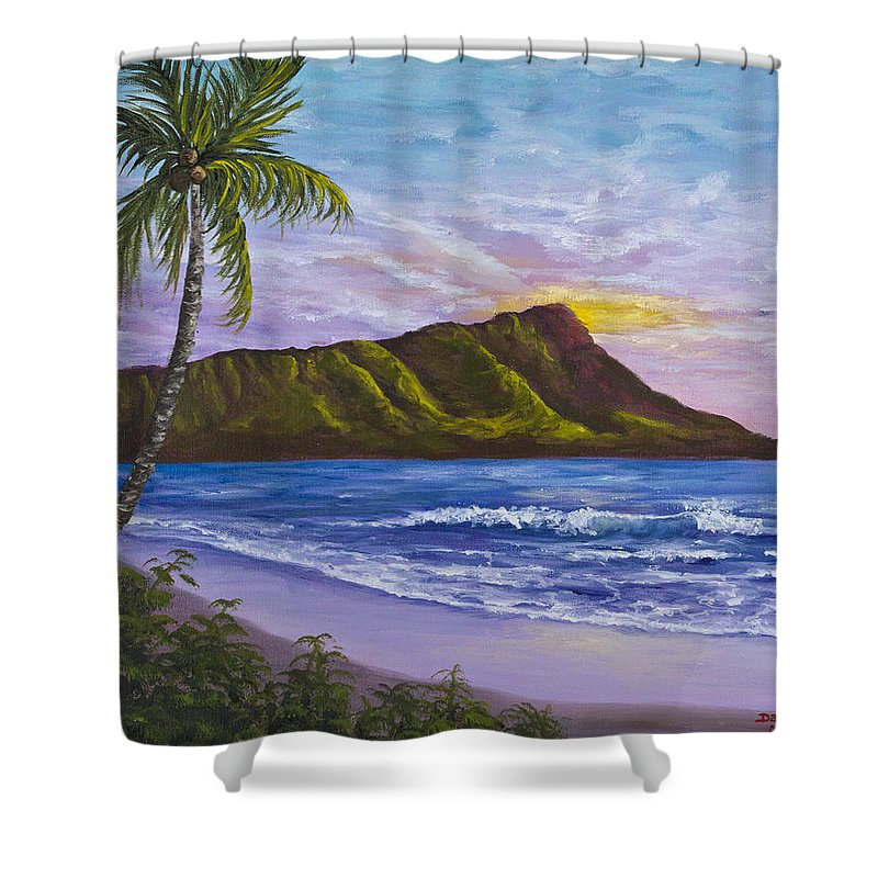 Hawaii Shower Curtain featuring the painting Diamond Head by Darice Machel McGuire