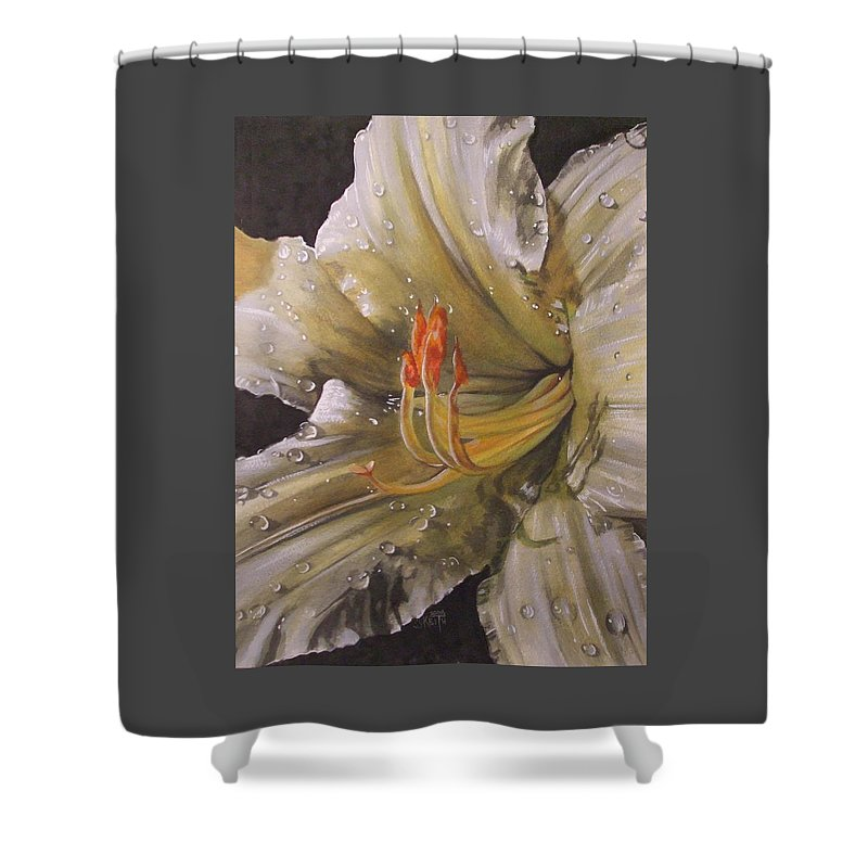 Daylily Shower Curtain featuring the painting Diamonds by Barbara Keith