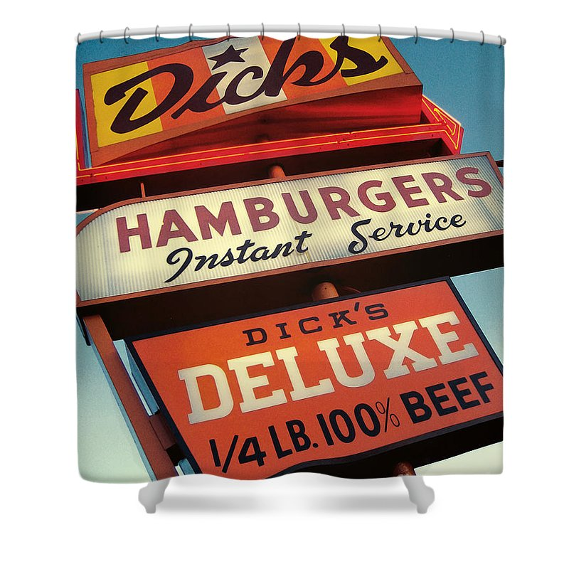 Burgers Shower Curtain featuring the digital art Dick's Hamburgers by Jim Zahniser