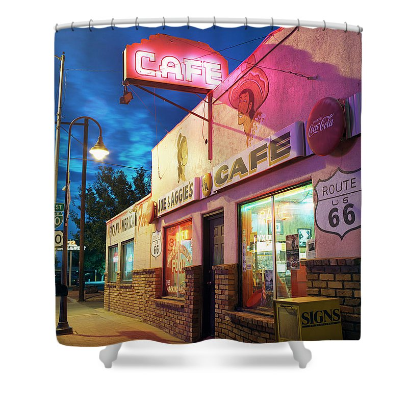Shadow Shower Curtain featuring the photograph Diner Along Route 66 At Dusk by Gary Yeowell