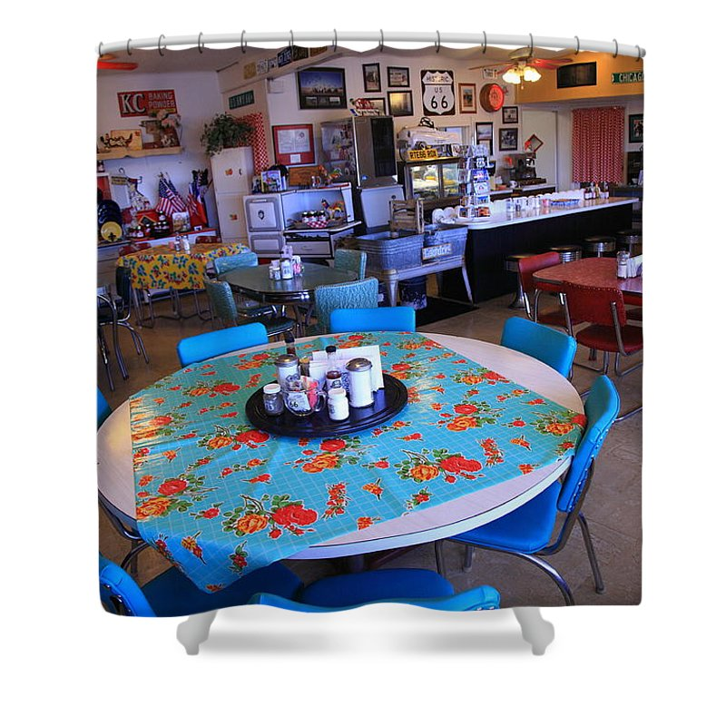 66 Shower Curtain featuring the photograph Diner On Route 66 by Frank Romeo
