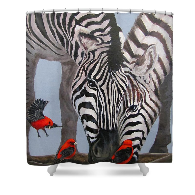 Zebra Shower Curtain featuring the painting Dinner Guests by Karen Ilari