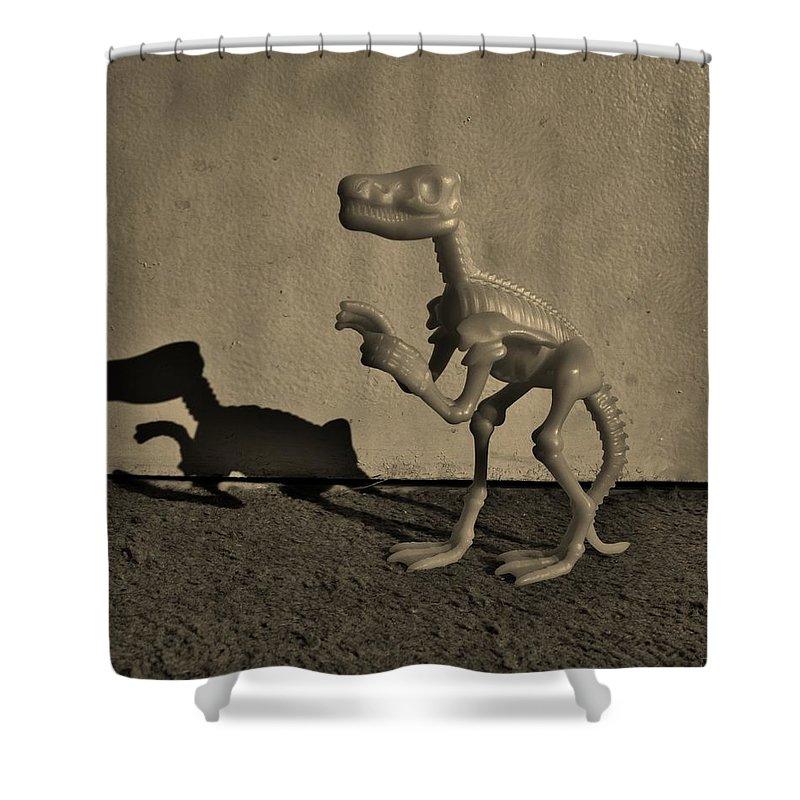 Dinosaur Shower Curtain featuring the photograph Dino Dark Medium Sepia by Rob Hans