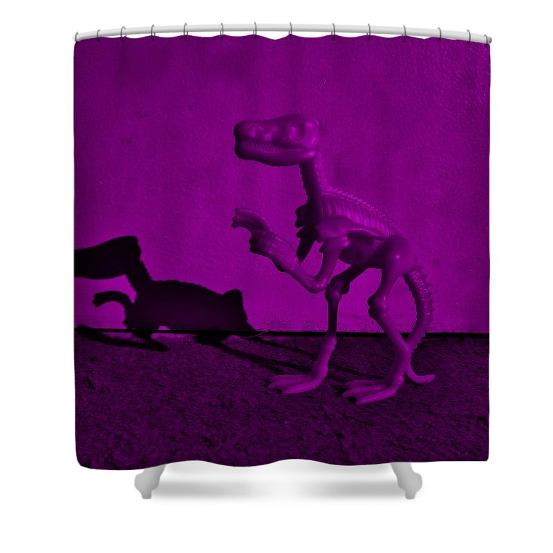 Dinosaur Shower Curtain featuring the photograph Dino Dark Purple... Barney by Rob Hans