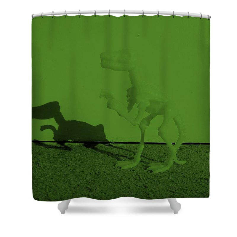 Dinosaur Shower Curtain featuring the photograph Dino Olive by Rob Hans