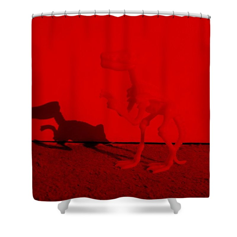 Dinosaur Shower Curtain featuring the photograph Dino Red by Rob Hans