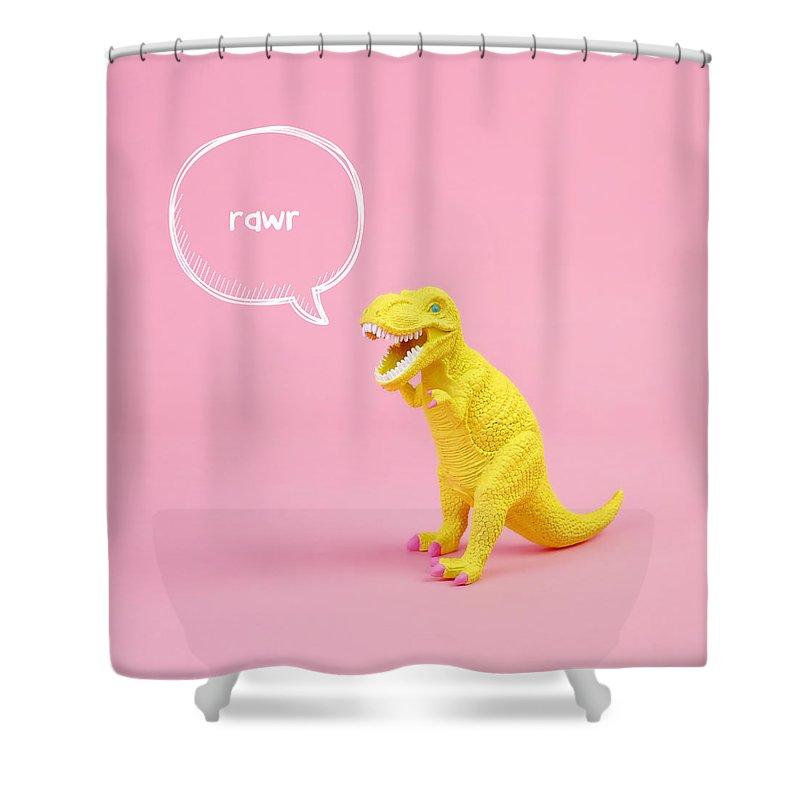 Animal Shower Curtain featuring the photograph Dinosaur Rawr by Juj Winn