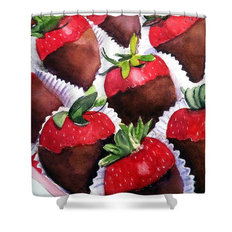 Strawberries Shower Curtain featuring the painting Dipped Strawberries by Lynne Atwood