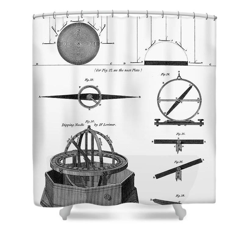 1764 Shower Curtain featuring the photograph Dipping Needle Compass by Granger