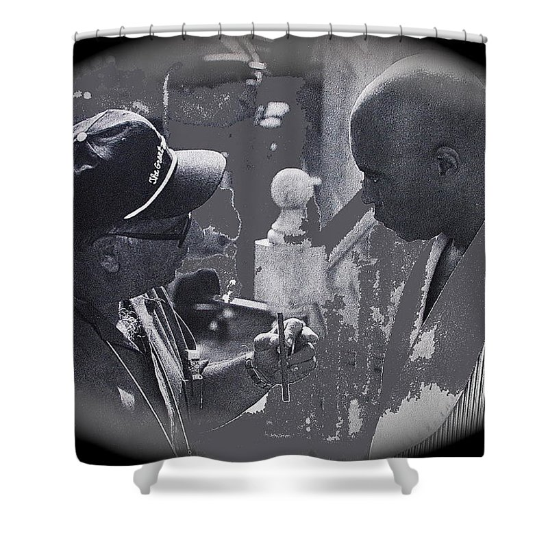 Director Martin Ritt And James Earl Jones Number 2 The Great White Hope Set Globe Arizona 1969-2013 Stanley Kubrick Dr. Strangelove Vignetted Color Added Shower Curtain featuring the photograph Director Martin Ritt And James Earl Jones Number 2 The Great White Hope Set Globe Arizona 1969-2013 by David Lee Guss