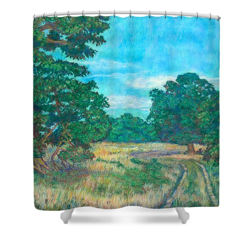 Landscape Shower Curtain featuring the painting Dirt Road Near Rock Castle Gorge by Kendall Kessler