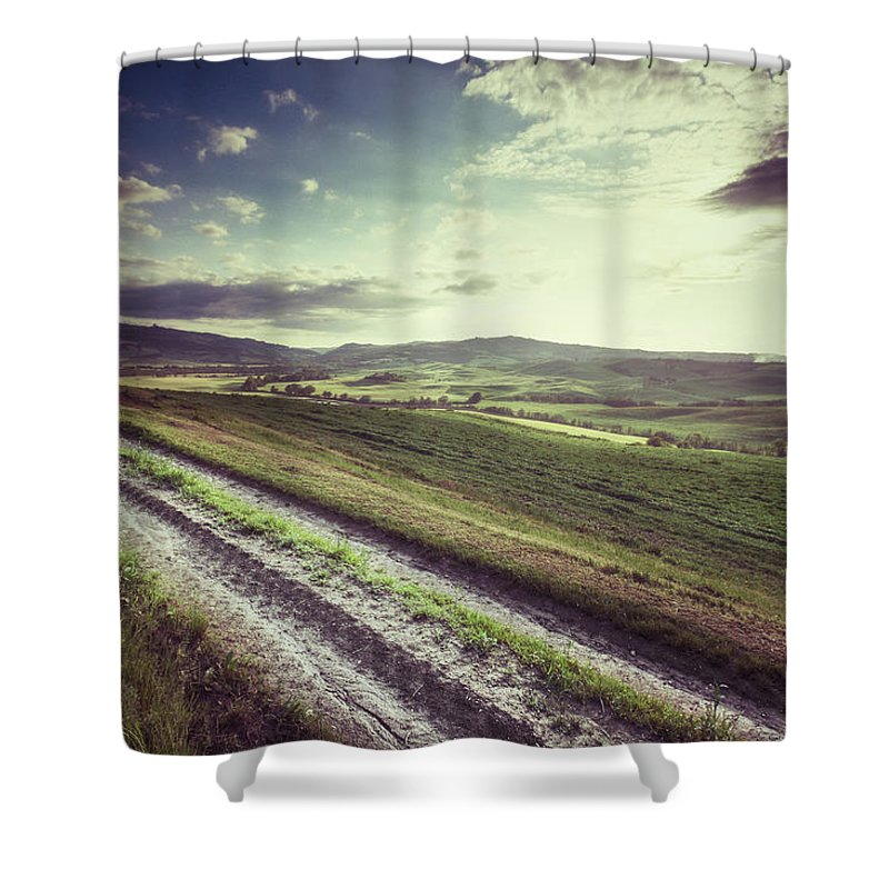Steppe Shower Curtain featuring the photograph Dirt Track In Tuscany by Xavierarnau