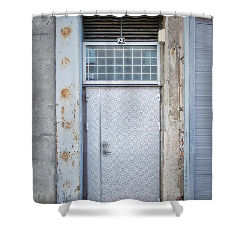 Metal Shower Curtain featuring the photograph Dirty Metal Door by Antony McAulay