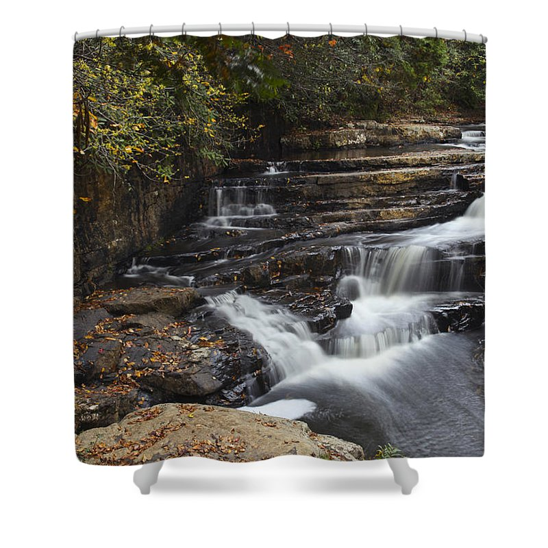 Waterfall Shower Curtain featuring the photograph Dismal Falls by Amy Jackson