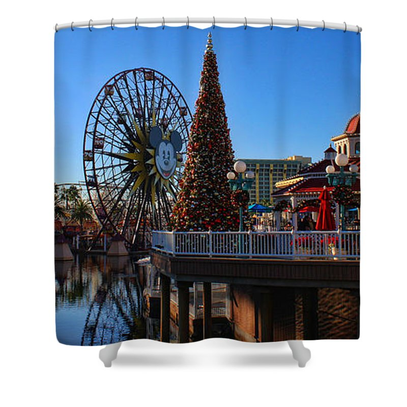 Disney California Adventure Shower Curtain featuring the photograph Disney California Adventure Christmas by Tommy Anderson