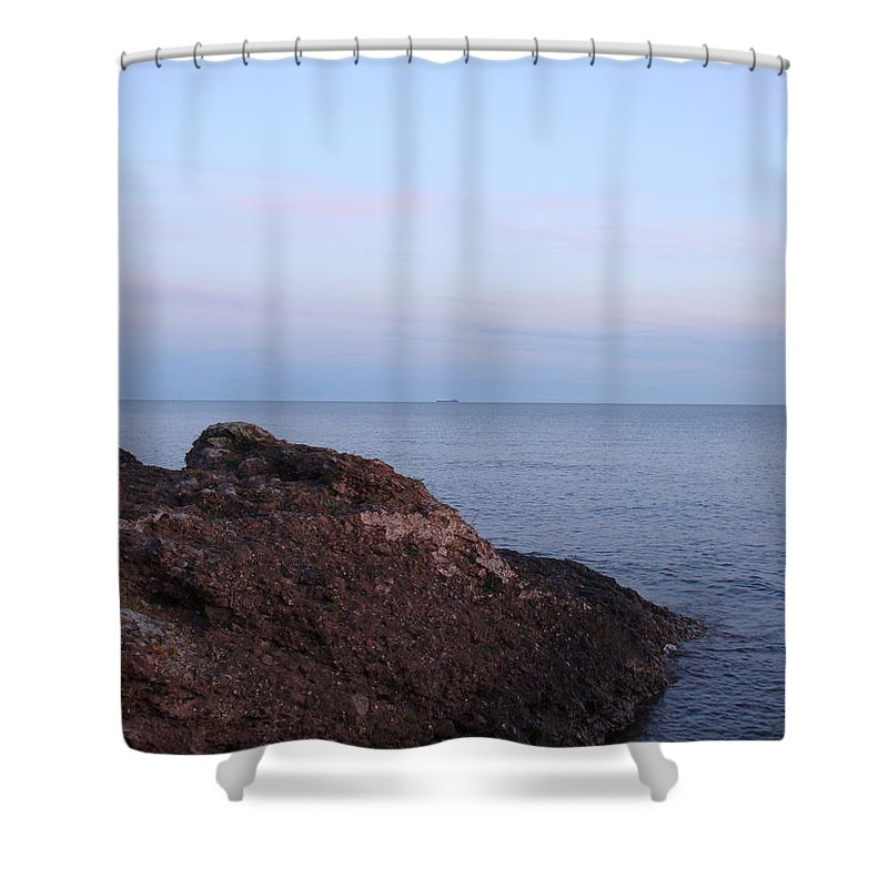 Ore Carrier Shower Curtain featuring the photograph Distant Freighter by Bonfire Photography