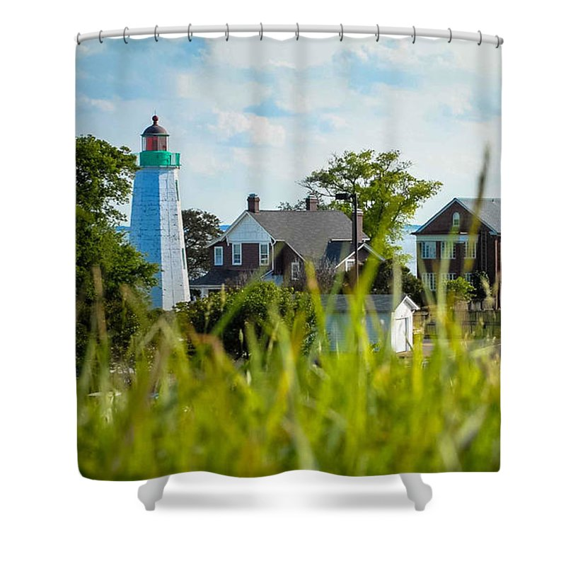 Light House Shower Curtain featuring the photograph Distant Light House by Wesley Farnsworth
